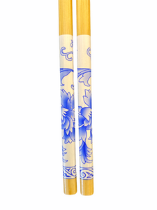 Lacquer Bamboo Chopsticks - Blue/White