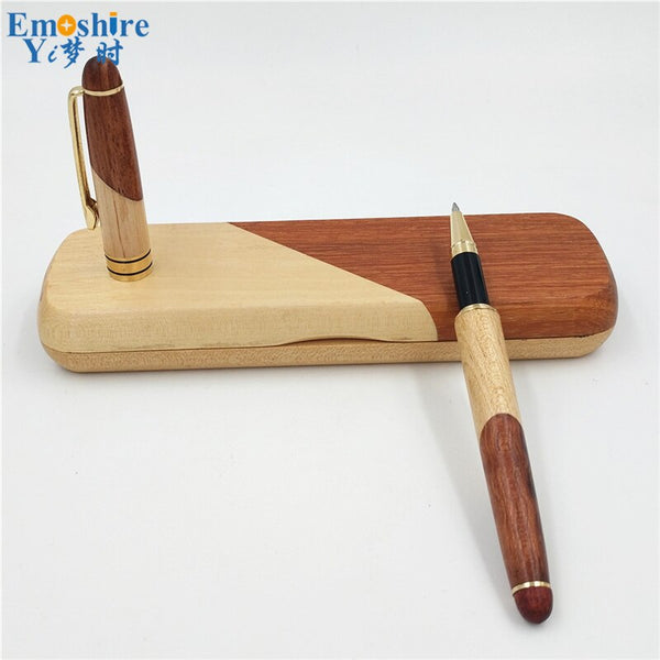 Top Quality New Stationery Signature Pen Wooden Ballpoinnt Pen Roller Ball Pen Set Folding Logs Wooden Pencil Case P055
