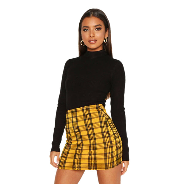 Women's Bodycon Mini Skirt, Casual High Waist Above Knee Plaid Print Short Pencil Skirt
