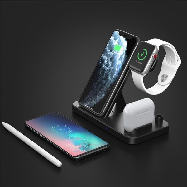50pcs Wireless Station for iPhone iWatch Airpods Apple Pencil,4 in 1 Fast QI Charger Charging Dock For All QI Phones Fast Charge