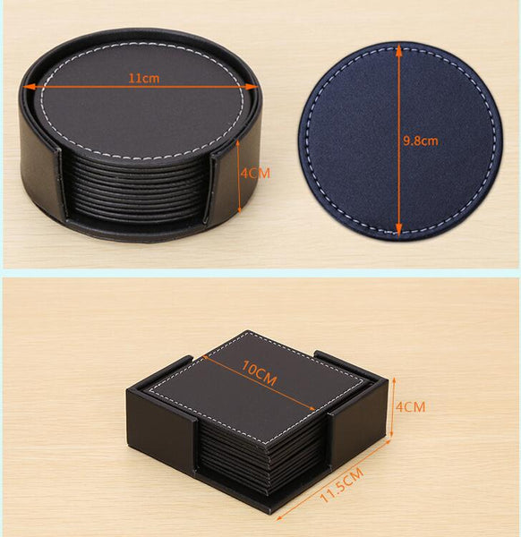 6Pcs/set Absorbs Moisture and Prevents Table Damage Black Silicone Coaster with Non-Slip Bottom And Holder for Drinking Glasses