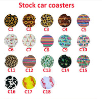 2000PCS/LOT Neoprene Car Cup Table Mat Mug Coaster Flower Teacup Rainbow Colors Pad For Home Decor Accessories Placemat Coasters