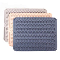 100 Pcs Silicone Dish Drying Mat Drain Pad Non-slip Easy Clean Dishwasher Safe Heat Resistant Eco-Friendly Placemat Wholesale