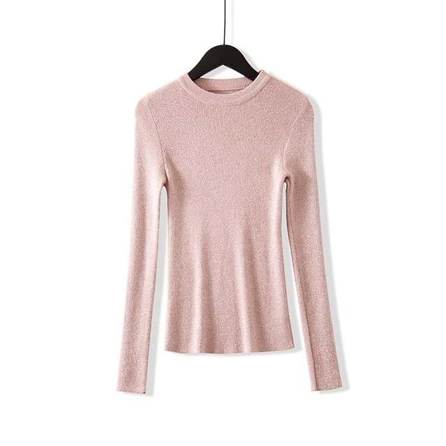 Shiny Lurex Autumn Winter Sweater Women Long Sleeve Pullover  Knit Tops