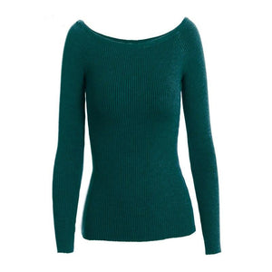 Autumn and Winter Basic Women Sweater slit neckline Strapless Sweater thickening Sweater Off Shoulder Pullover Sweaters