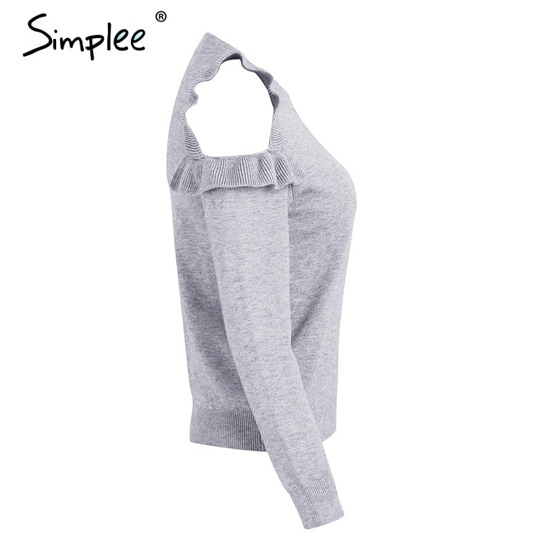 Elegant cold shoulder knitted sweater women jumper Casual long sleeve sweater female Autumn winter ladies pullover