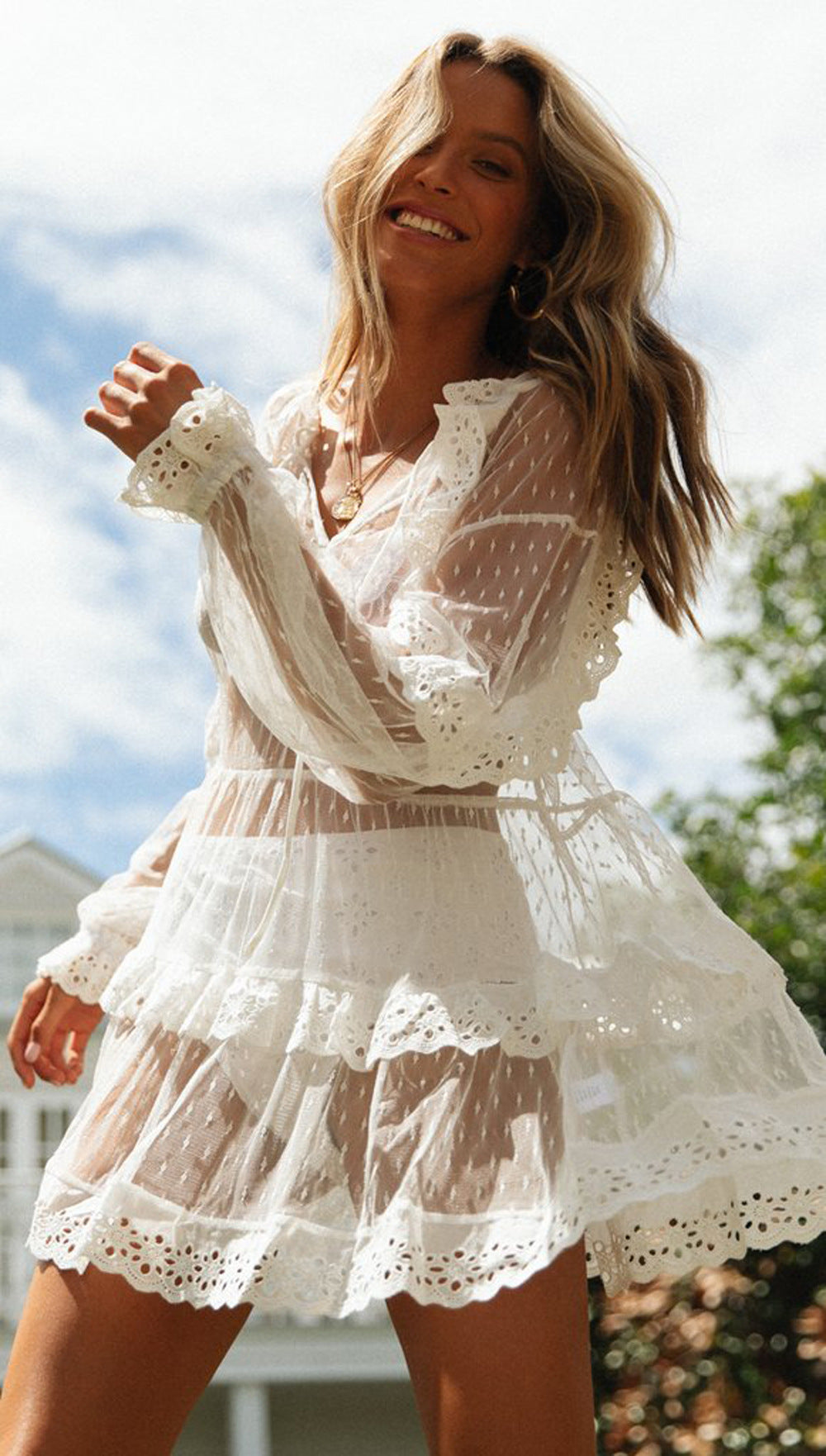 Crochet Ruffle Black White Short Lace Dress Summer Women See Through Sexy Mini Transparent Dress Boho Beach Dress