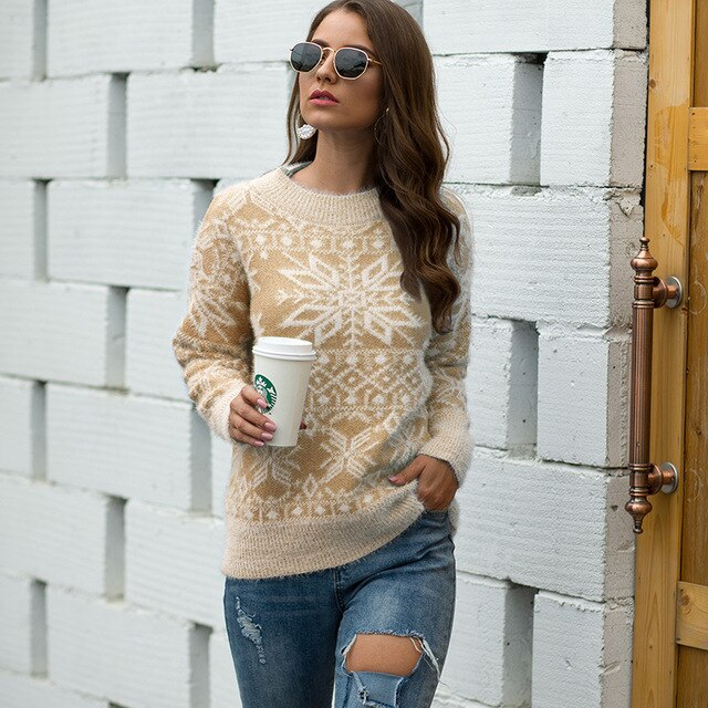 Autumn winter sweater women casual retro cashmere Christmas snowflake pullover knit sweaters female pullovers
