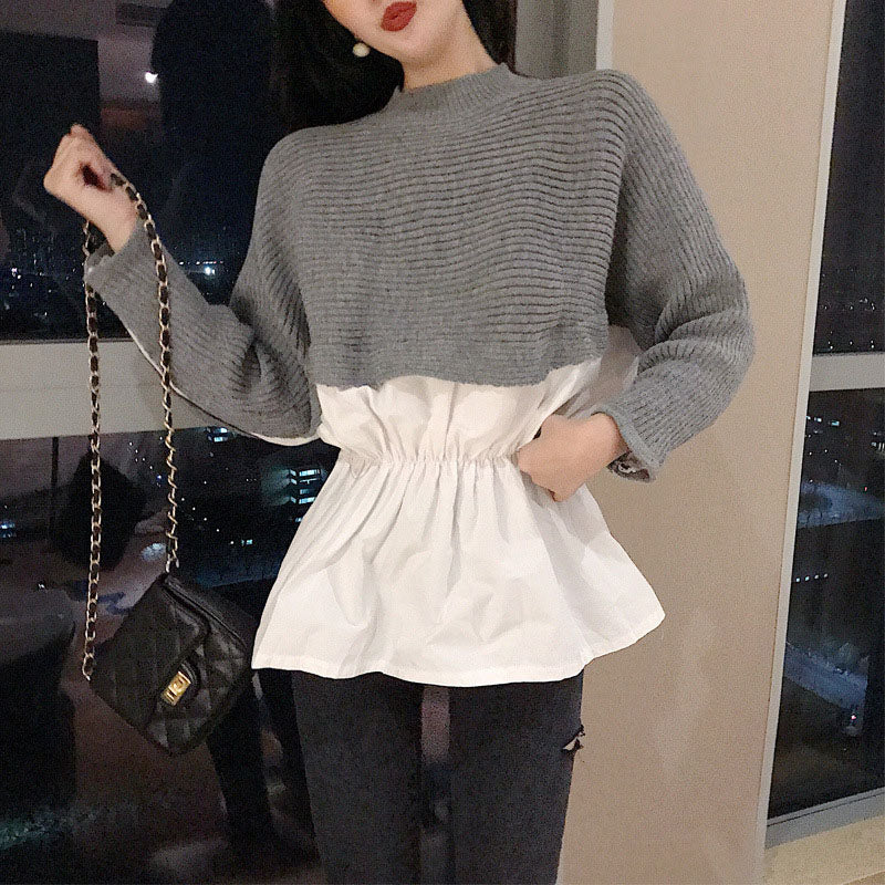 Womens Patchwork Sweater Shirts Autumn Knit Fake Two Pieces O-neck Long Sleeve Japan Woman Sweaters