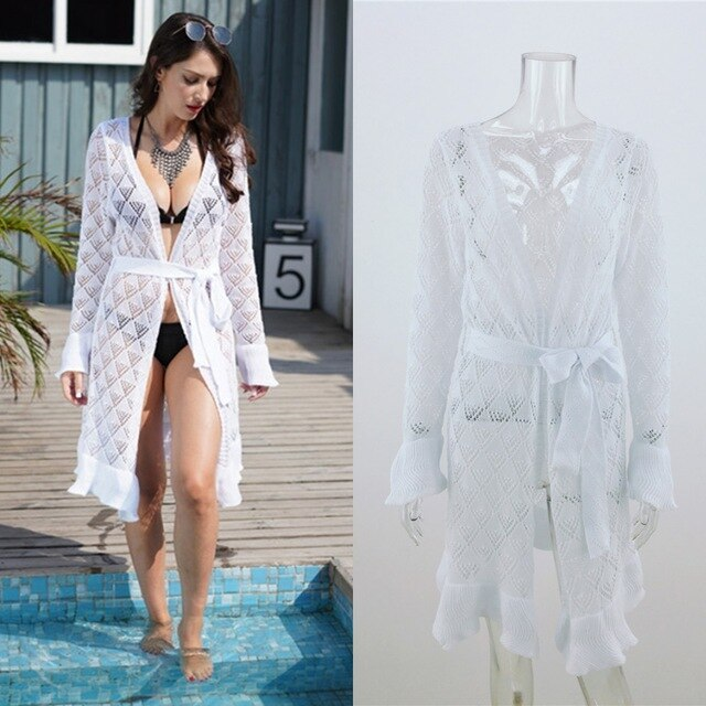 Summer Swimsuit Hollow Knit Beach Bikini Cover Up Long Sleeve Women Tops Swimwear Beach Dress White Beach Tunic Shirt