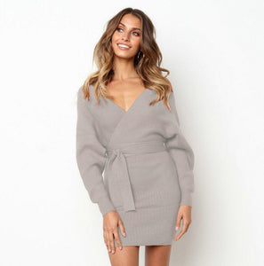 Sweater Dress Women Knitted Slim Pullover Clothing V Neck Sweater Ladies Long Sleeve chandail femme dress