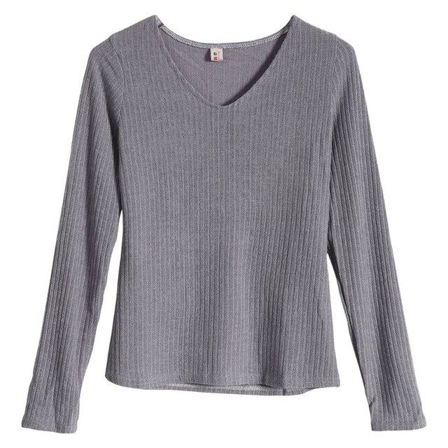Women Autumn Long Sleeve V Neck Thin Slim Fit Knit Sweater Casual Pullover