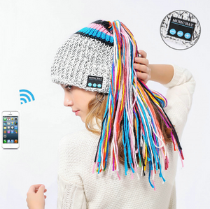 Chic Winter Warm Knit Bluetooth Beanie with Wireless Headphone Headset Speakers & Mic Rechargeable Battery Hands Free for Outdoor Sport for Women Teens Girls