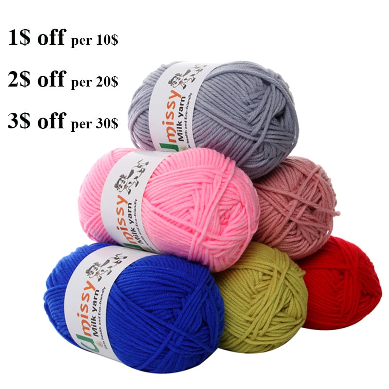 1pc Crochet Yarn Milk Cotton Knitting Yarn Soft Warm Baby Yarn for Hand Knitting Supplies 50g/pc