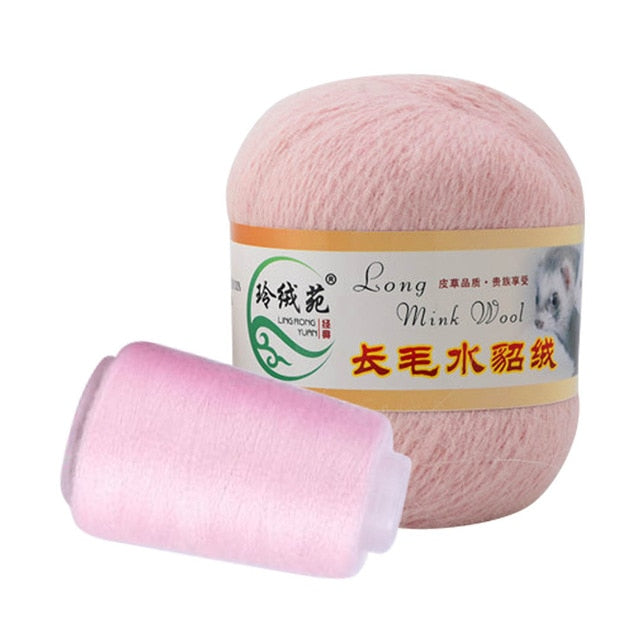 50g Cashmere Long Plush Mink Soft Mink Wool Yarn Hand-knitted Luxury Long-wool Cashmere Crochet Knitted Yarn For Autumn