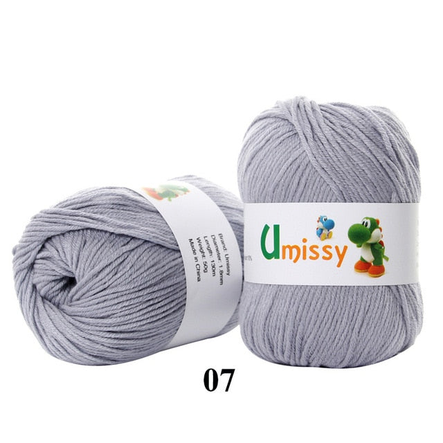 1pc Soft Silk Fiber Cashmere Wool Yarns For Kids Eco-friendly Dyed Baby Yarn For Knitting 50g Threads