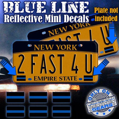 6 PC. BLUE LINE REFLECTIVE MINI DECALS