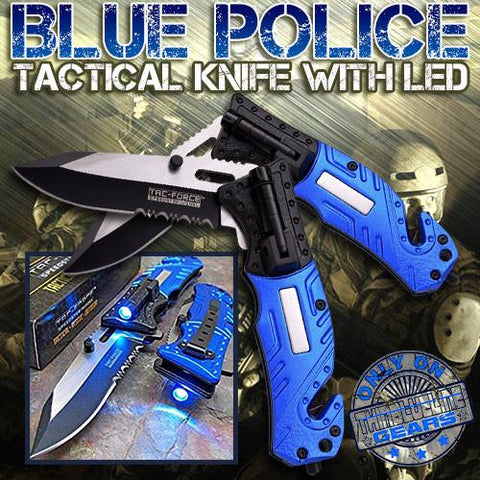 Blue Police Tactical Knife with LED