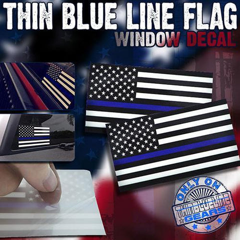 Thin Blue Line Flag Window Decal