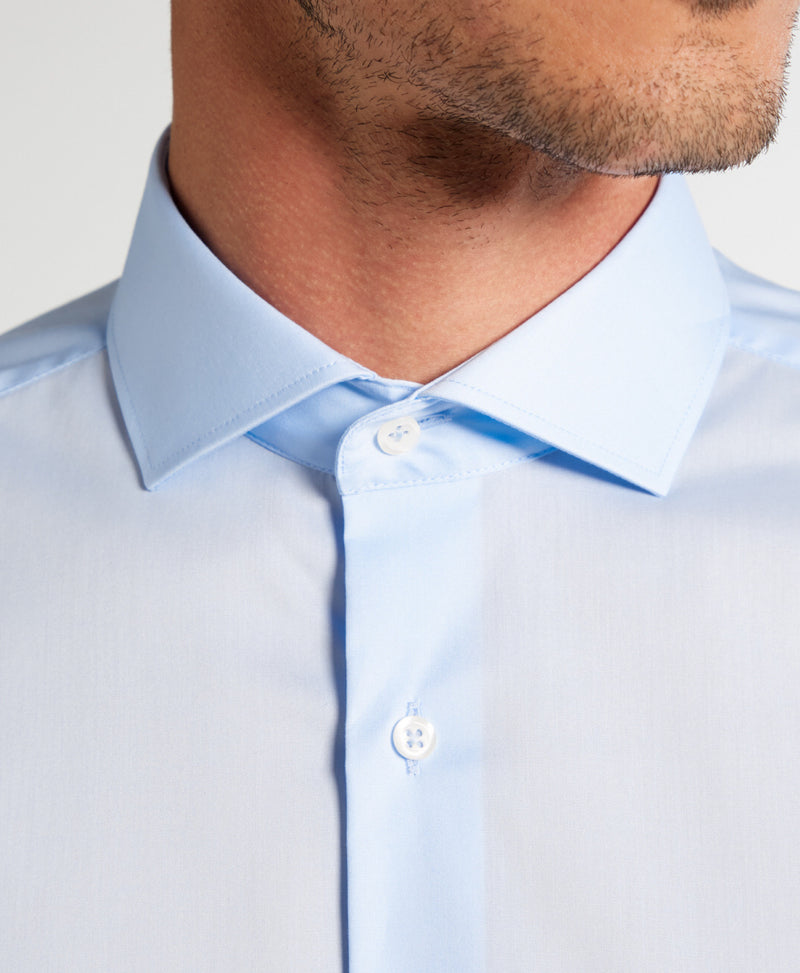 Eterna slim fit stretch shirt licht blauw