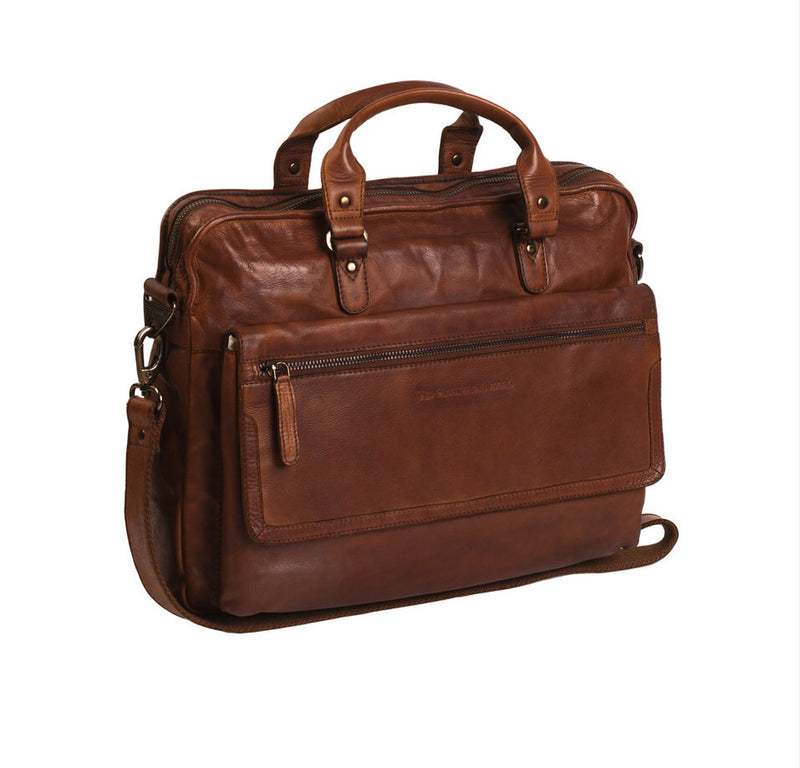 Leren Laptoptas Cognac Chesterfield