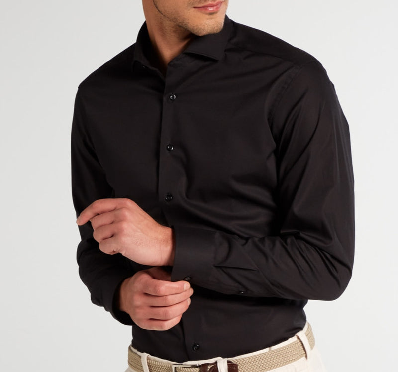 Eterna slim fit stretch shirt zwart