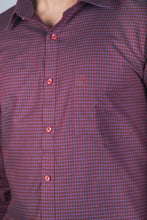 Load image into Gallery viewer, Maroon Dobby Checks Formal Shirt