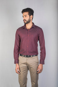 Maroon Dobby Checks Formal Shirt
