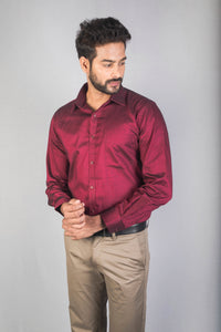 Dark Pink Giza Chambray Formal Shirt