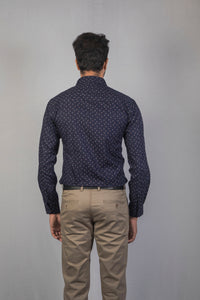 Navy Blue Herringbone Dobby Print Formal Shirt