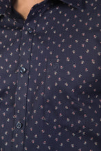 Load image into Gallery viewer, Navy Blue Herringbone Dobby Print Formal Shirt