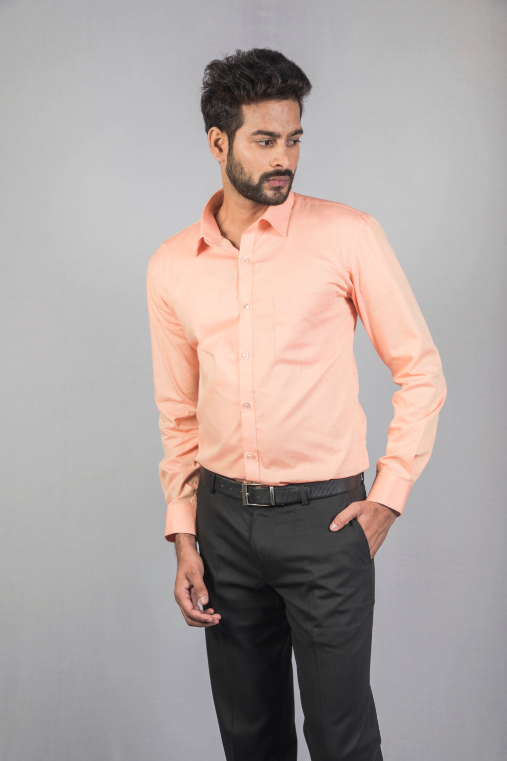 Light Orange Honeycomb Dobby Formal Shirt