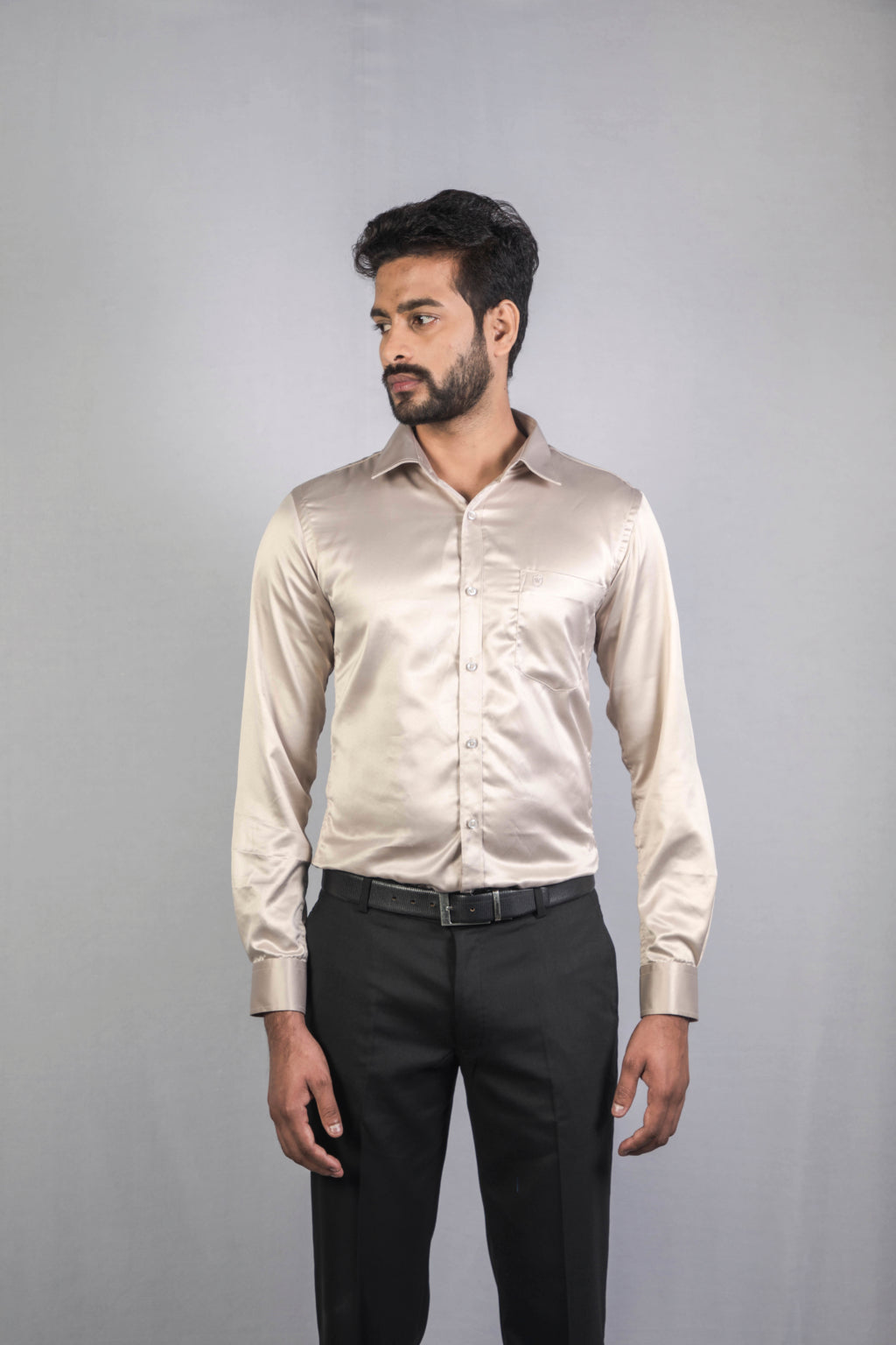 Steel Grey Classic Satin Formal Shirt