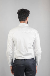 White 100% Cotton Satin Formal Shirt