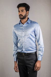Sky Blue Classic Satin Formal Shirt