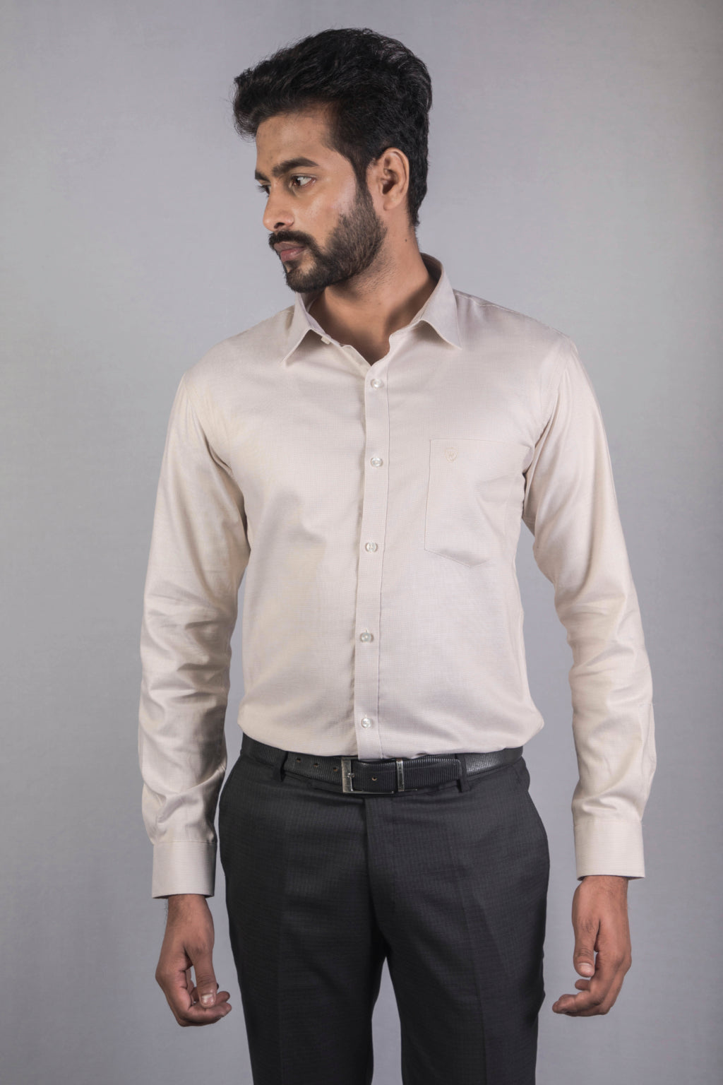 Beige Dobby Formal Shirt