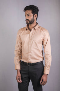 Beige Giza Chambray Formal Shirt