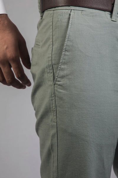 Aqua-Green Cotton Lenin Lycra Trouser