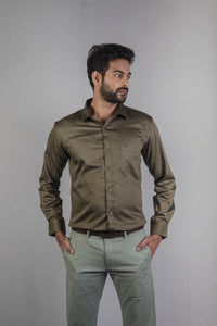 Green 100% Cotton Satin Formal Shirt