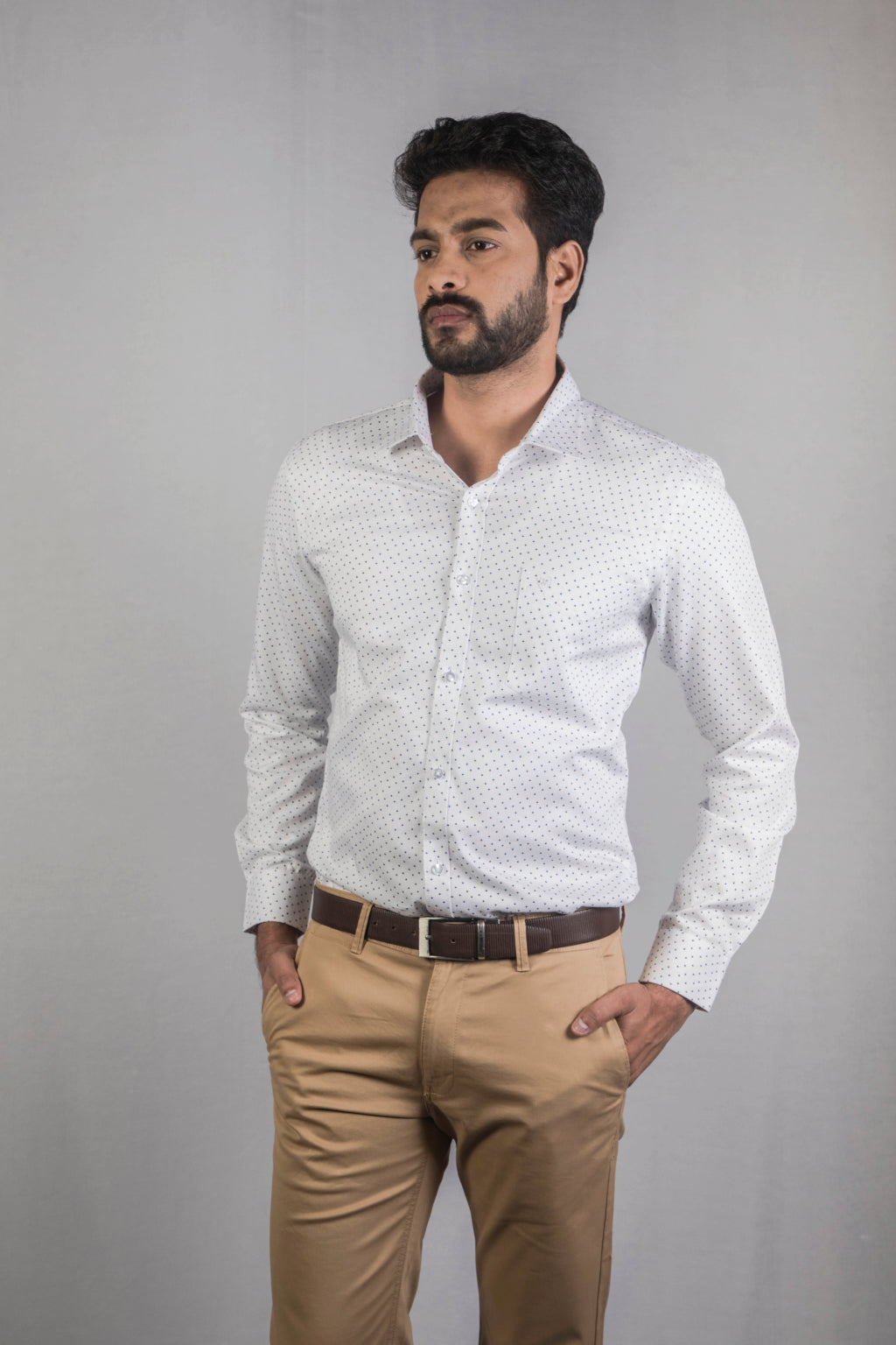 White Herringbone Dobby Print Formal Shirt