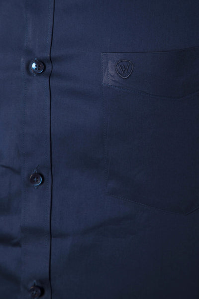 Royal Blue 100% Cotton Satin Formal Shirt