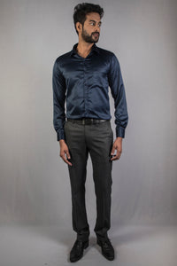 Navy Blue Classic Satin Formal Shirt