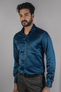Dark Blue Classic Satin Formal Shirt