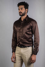 Load image into Gallery viewer, Brown Classic Satin Formal Shirt