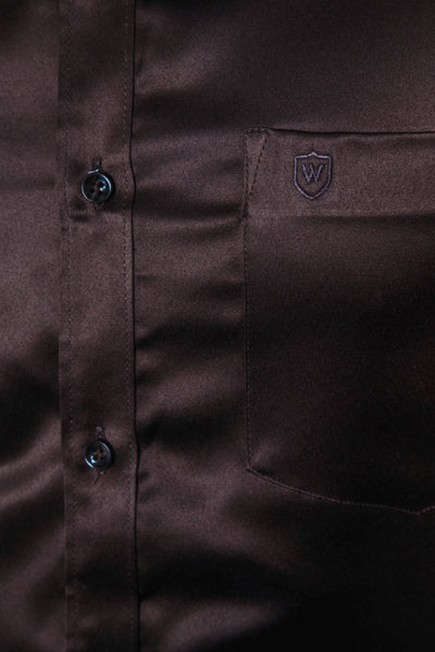 Brown Classic Satin Formal Shirt