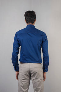 Blue Herringbone Dobby Formal Shirt