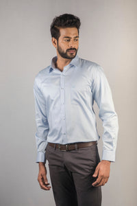 Light Blue 100% Cotton Satin Formal Shirt