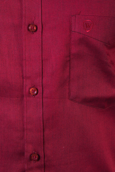 Red Herringbone Dobby Formal Shirt
