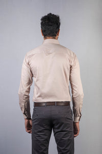 Beige 100% Cotton Satin Formal Shirt