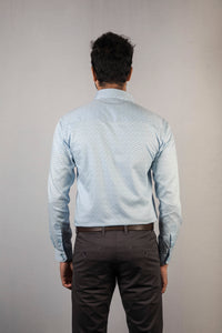 Light Blue Herringbone Dobby Print Formal Shirt
